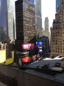 Times Square. You can almost see the pole where the little ball drops down on New Year's Eve.