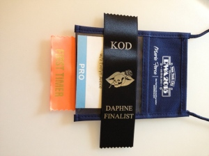 The ribbon for the Daphne contest was lovely. Couldn't figure out which way to wear it.